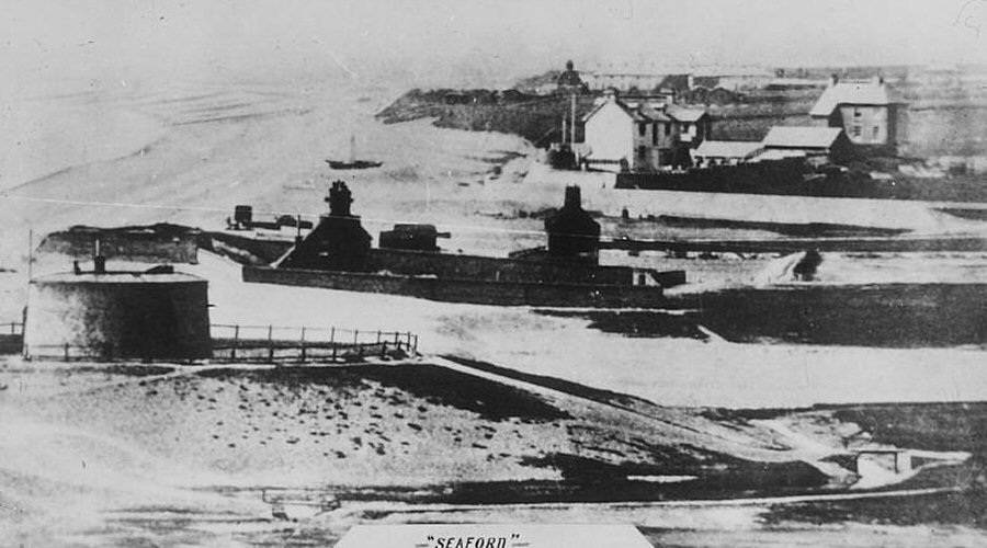 The Martello Tower before the Esplanade was constructed